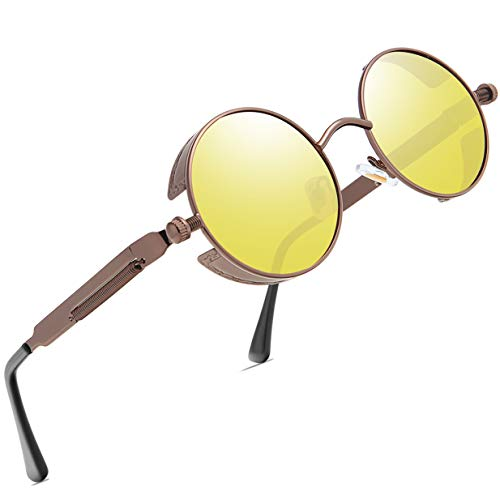 FEIDU Gafas de sol redondas para hombre, polarizadas con marco de metal redondo, para mujer, FD 3013