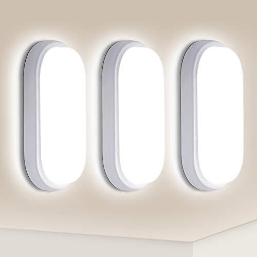 3er Oeegoo LED Deckenleuchte Bad, 12W 960LM Deckenlampe, IP54 Wasserfest Feuchtraumleuchte, Flimmerfreie Ovalleuchte Deckenlampe Kellerlampe Badzimmerlampe Außenleuchte Wandlampe, Neutralweiß