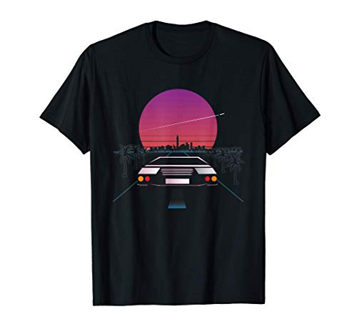 Retro 80s Car and Sunset Outrun Synthwave T-shirt