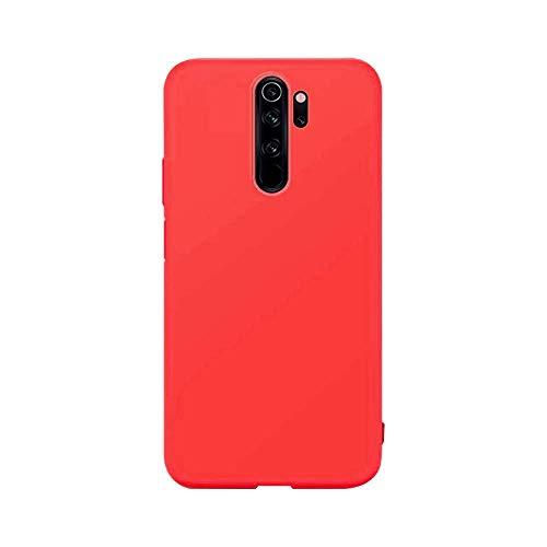 cuzz Funda para Xiaomi Redmi Note 8 Pro+{Protector de Pantalla de Vidrio Templado} Carcasa Silicona Suave Gel Rasguño y Resistente Teléfono Móvil Cover-Rojo