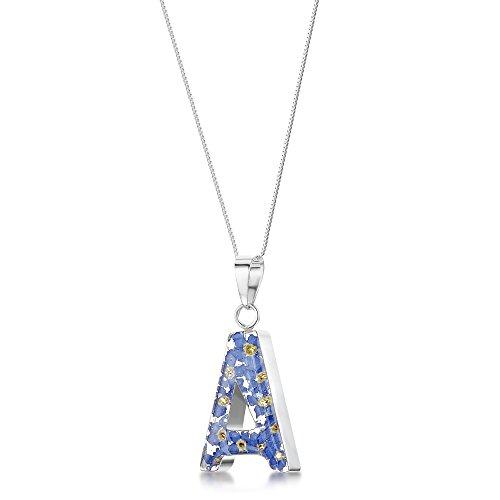 Shrieking Violet handgemaakte halsketting met echte bloemen - Vergeet meinnicht - initialen hanger letter