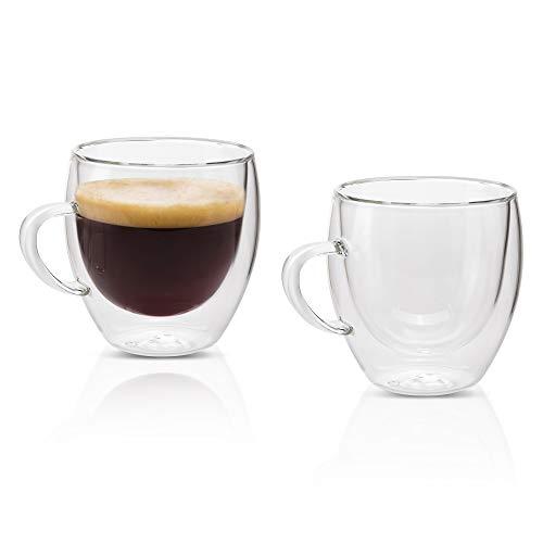 MONDAEN. Kaffeetassen 200ml / 2er Set doppelwandige Kaffeegläser aus hochwertigem Borosilikat-Glas/Kaffee-Tasse Thermo-isoliert und mundgeblasen für ausgiebigen Kaffeegenuss/Moderne Cappuccino-Tassen