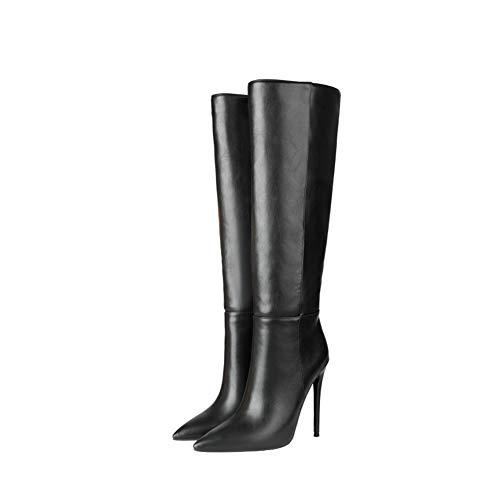 NA Gel Nail Damen Lange Stiefel, Damen Lederstiefel, Spitze Stiletto High Heels Damenschuhe,Schwarz,40