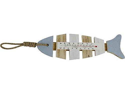 itsisa Holz Thermometer Fisch - Außenthermometer/Innenthermometer, Gartendeko, Deko maritim, Shabby Look