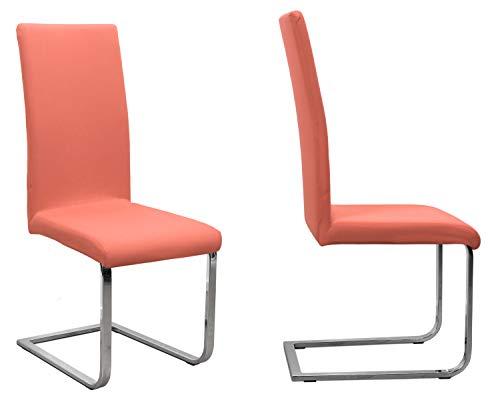 BEAUTEX 2er Set Jersey Stuhlhusse (Farbe wählbar), elastische Uni Stretch-Husse aus Baumwolle Bi-Elastisch (Flamingo)