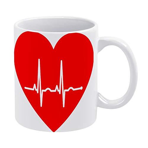 White Ceramic Mug Ekg Electrocardiogram Heart Art with Handle, for Gift, Coffee mug.Tea Mug, Milk Mug Office Home, made in US