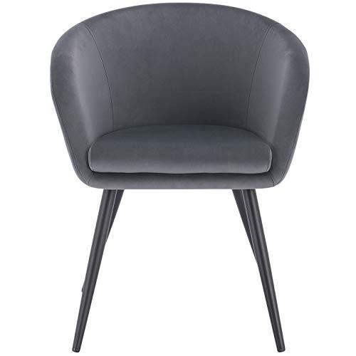 Poltrona da ufficio o da pranzo Super Confortevole e Seduta Ergonomica 71x59x84 Cm Poltrona Imbottita circolare in velluto Beige con gambe in ferro nere