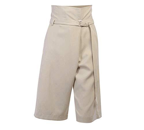 Damesshorts met hoge taille, vijfpuntsbroek, kaki broek met wijde pijpen, wijde shorts met wijde pijpen