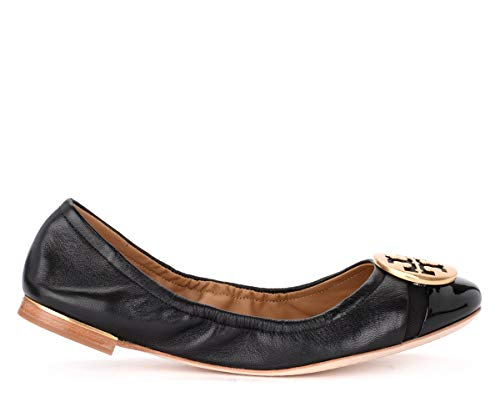 Tory Burch Ballerinas Minnie Cap-Toe In Leder Und Lack Schwarz