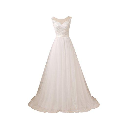 YIPEISHA Women's Wedding Dresses O-Neck Lace Tulle Long Wedding Dress for Bridal 20W Ivory