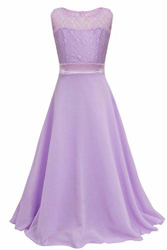 YiZYiF Festliches Mädchenkleid Lange Brautjungfern Kleider Hochzeit Chiffon Gr. 104 116 128 134 140 146 152 164 Lavendel 164
