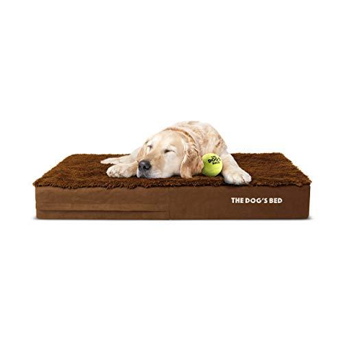The Dog's Bed Orthopädisches Hundebett, XL, Teddybär, Kunstfell, 117 x 71 cm, wasserdicht, Memory-Schaumstoff, Braun