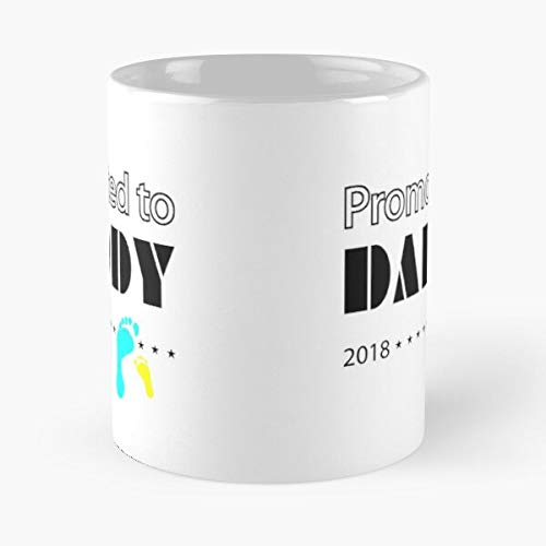 New Ddad Dad Baby Funny Pregnancy Est to Cute Footprints Typography Announcement Daddy Promoted 2018 Best 11 Ounce Ceramic Coffee Mug Customize