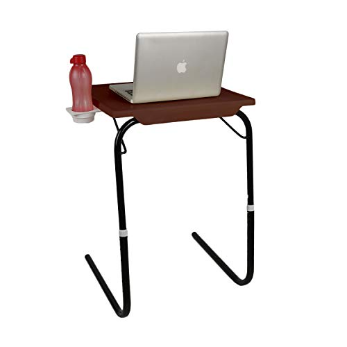 MULTI - TABLE Wudore Series Foldable and Adjustable Multi Purpose Utility Table with Cup Holder for Laptop, Dinner, Study Table with Black Legs (Large, Brown)