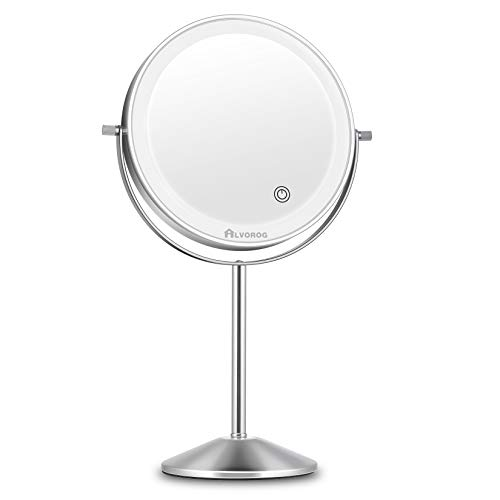 alvorog Makeup Mirror with Lights Rechargeable 3 Color Lighting Modes 72 LEDs Touch Switch Intelligent Shutdown Vanity Mirror Dimmable 8 Inch Tabletop Mirror with 1X/5X Magnification