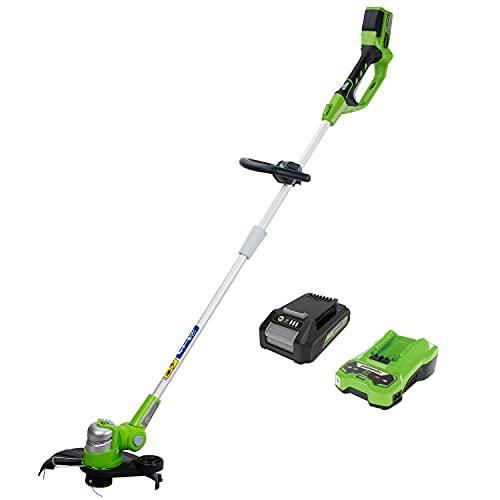 Greenworks Tools Cortacésped Deluxe G24LT30MK2 (Li-Ion 24V 40 cm de ancho de corte 3500 rpm cabeza de corte giratoria e inclinable mango adicional ajustable y eje telescópico con batería y cargador)