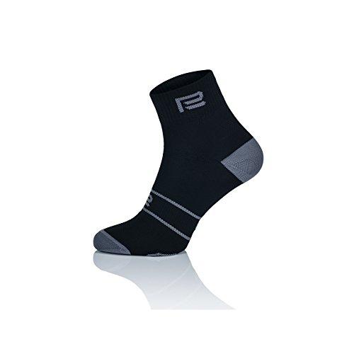 Prosske LS 1 de Chaussettes Chaussettes de Chaussettes de Course de Sport Respirant Femme Homme Enfant Plusieurs Couleurs, Noir/Gris