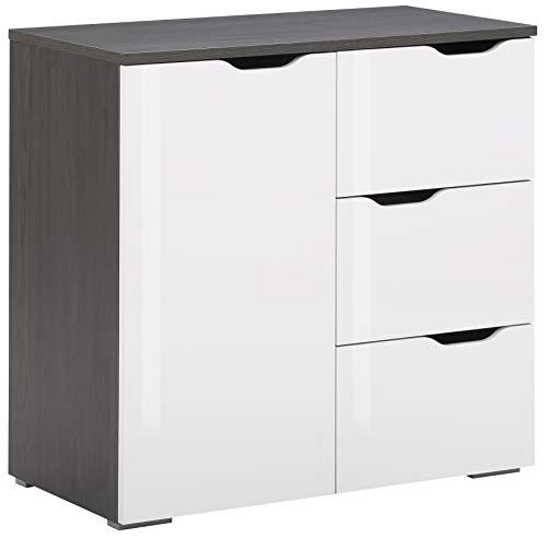 MAJA Möbel Gloss Kommode, Holzwerkstoff, Weiß Hochglanz - Ash-Oak, 80,1 x 77,7 x 40,0