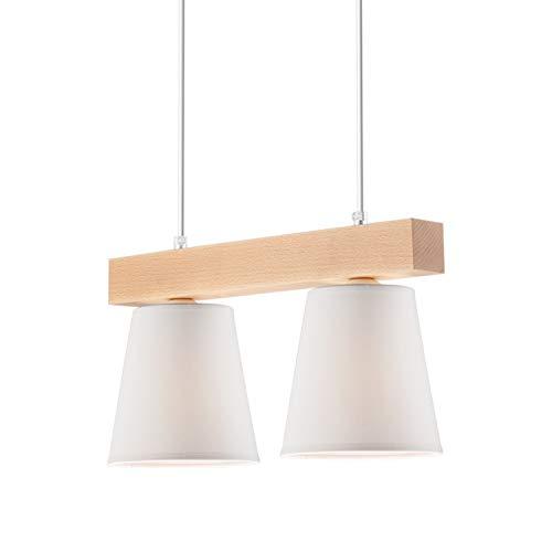 Pendel-Leuchte, Decken-Leuchte Weiss 2-Flammig, E27 Fassung, Sknadinavischer Stil, Deckenleuchte, Deckenlampe, Kronleuchter aus Stahl/Holz/Tuch - ohne Leuchtmittel