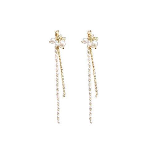 Xlin Aguja De Plata S925, Dos Pendientes De Perlas De Desgaste, Flujo Largo Simple, Uñas De Oreja (Color : Ear Studs)