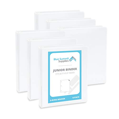Set of Small Binders Ideal for Playbills or Planner, White, 6 Pack