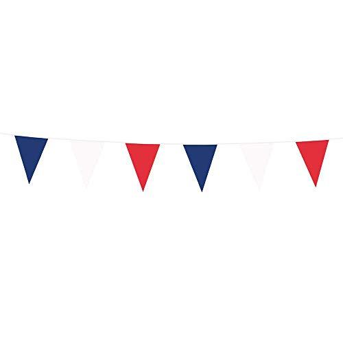 Boland 74747 - Wimpelkette Trikolore, Länge 10 Meter, Frankreich, Nationalflagge, Fahnenkette, Kunststoffgirlande, Hängedekoration, Geburtstag, Jubiläum, Mottoparty
