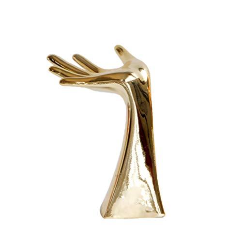 LIOOBO Hand Figurine Ceramic Jewelry Display Stand Jewelry Display Holder Necklace Rings Bracelet Organizer Display Rack (Yellow)