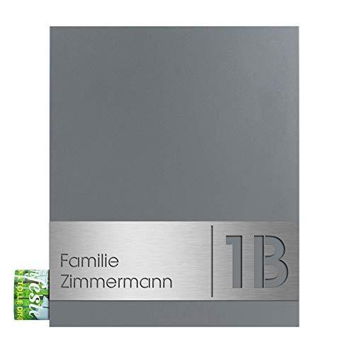 Design-Briefkasten mit Zeitungsfach mit Gravur Name und Hausnummer grau-aluminium (RAL 9007) Mocavi Box 111 Postkasten Zeitungsrolle Wandbriefkasten groß