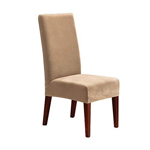 fits for chairs Sure Fit, Cream Home Décor Stretch Pique Short Dining Room Chair One Piece Slipcover, Form Fit, Polyester/Spandex, Machine Washable, Color, 42 Inch Tall