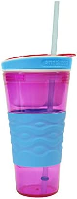 Snackeez Travel Snack Drink Cup with Straw Pink product image