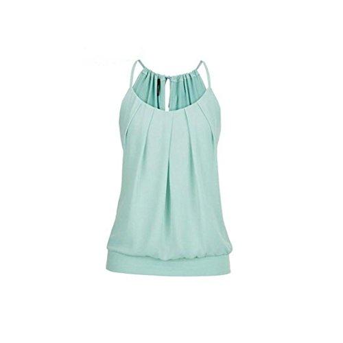 ESAILQ Damen Sommer O Neck Geknitterte Cami Tank Tops Weste Mode Weich Bluse Loose Casual (Grün, M)