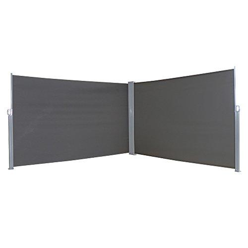 MCTECH® Doppel-Seitenmarkise Zertifiziert Sonnenschutz Sichtschutz Windschutz Terrasse Markise Polyester (1.8 * 6m, Anthrazit)