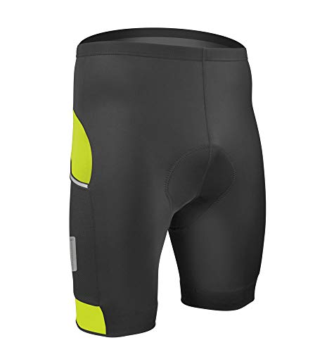 Aero Tech All Day Cycling Shorts with Reflective Side Pockets (X-Lage, Safety Yellow)