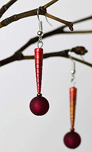 Trend moderne Upcycling handmade Papier Ohrhänger Ohrringe mit Polarisperlen (optional 925er Silber Ohrbügel) »Glamour Balle«