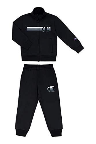 Champion Heritage Kids Track Pant Set | 2 Piece Set | Boys Joggers | Sweatshirt (Black/Black, 5)