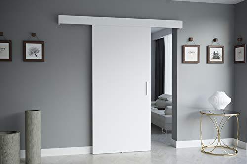 KRYSPOL Schiebetürsystem Salwador 1 Komplett-Set für Schiebetüren, Trennwände Innentüren, Modern Design (Weiß)