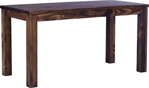 Brasilmöbel Esstisch Rio Classico 160x80 cm Eiche antik Massivholz Pinie Holz Esszimmertisch Echtholz Größe und Farbe wählbar ausziehbar vorgerichtet für Ansteckplatten