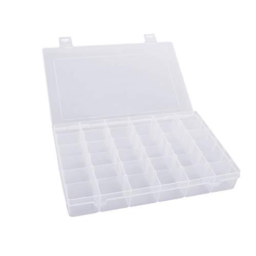 Cabilock Organizador de Joyería Ajustable de Plástico Duro Transparente de 36 Rejillas Compartimentos de Caja de Contenedor de Almacenamiento de Caja Almacenamiento Doméstico Portátil
