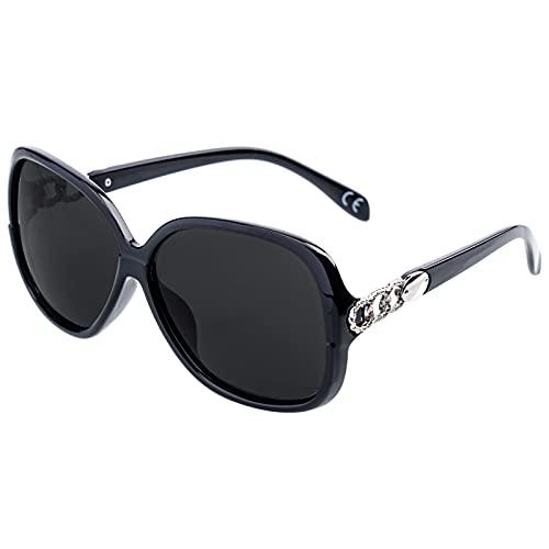 Benefast Sonnenbrille Damen Polarisiert Groß Vintage UV400 Schutz Klassisch Brille Schwarze Linse