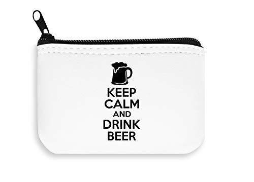 Houd kalm en drink bier rits portemonnee rits munt zak portemonnee