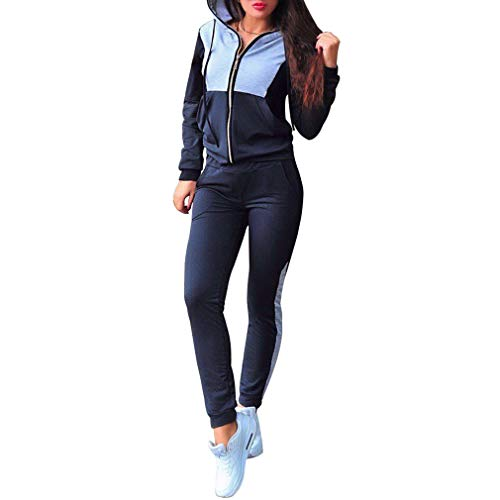 Mxssi Mujeres Hit Color Patchwork de Punto con Capucha + Pantalones 2 Piezas Conjuntos de Ropa Casual Patchwork Chándales