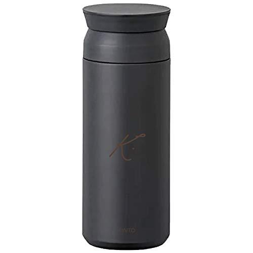 [名入れ無料] KINTO トラベルタンブラー 500ml キントー タンブラー 水筒 保温 保冷 真空二重構造 オシャレ マイボトル ギフト プレゼント (ブラック, 【ボトル】イニシャル(ドット))