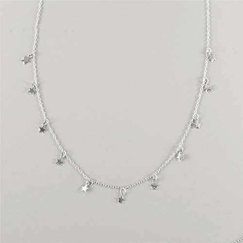DGFGCS Collar de Plata para Mujer Collar De Gargantilla para Mujer, Collar De Cadena Corta De Color Plateado para Mujer, Collar De Plata De Ley 925 Auténtica, Joyería