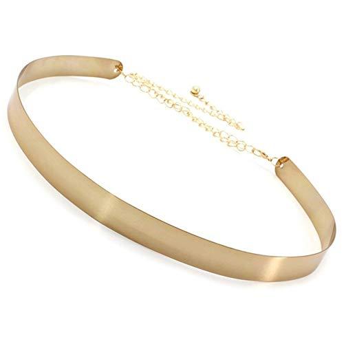 ROTAKUMA Frauen Gürtel for Frauen-Gold-Silber Marke Gürtel Classy Elastic 6-Farben-Gurt-Damen-Kleid-Zusatz 0121 (Color : Width 2 cm Golden)
