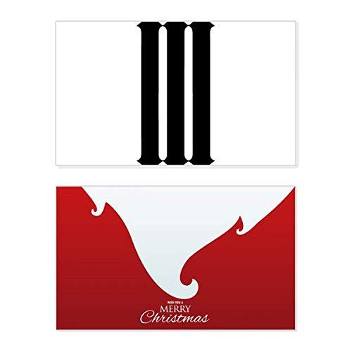 Romeinse cijfers drie in zwart Silhouette vakantie vrolijke kerstkaart Kerstmis Vintage bericht