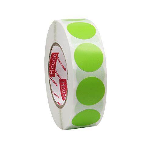 Hcode Aufkleber für Markierungsetiketten, für Garage, Verkauf, Preis etc, rund, bunt, permanent, selbstklebend, 1000 Stück grün