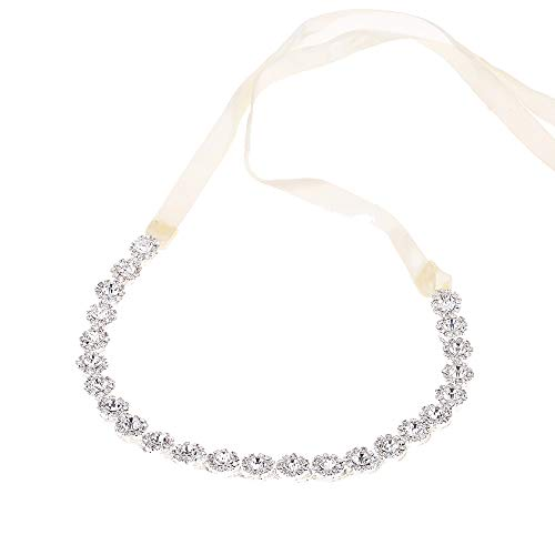 Wedding Rhinestone Headband Flower Girl Hair Accessories Elastic Head Wrap Hair Band Accessories for Women and Girl