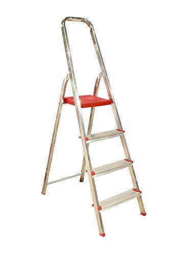 Escalera Plegable 4 peldaños de Aluminio, Escalera de Tijera Resistente y Ligera,...