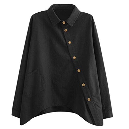 YANFANG Camisas De Mujer Tops Manga Larga,Moda Casual para Larga Blusa Sexy con Cuello En V Suelto SóLido OtoñO BáSico tee,Negro,M