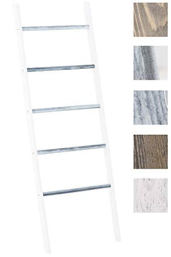 CLP Holzleiter Mariette V2 I Dekoleiter Mit Fünf Sprossen I Leiter Aus Blauglockenholz I Handtuchhalter weiß/grau